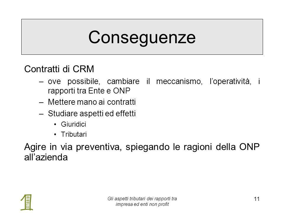 Gli aspetti tributari dei rapporti tra impresa ed enti non profit 11 Conseguenze Contratti di CRM –ove possibile, cambiare il meccanismo, l'operativit