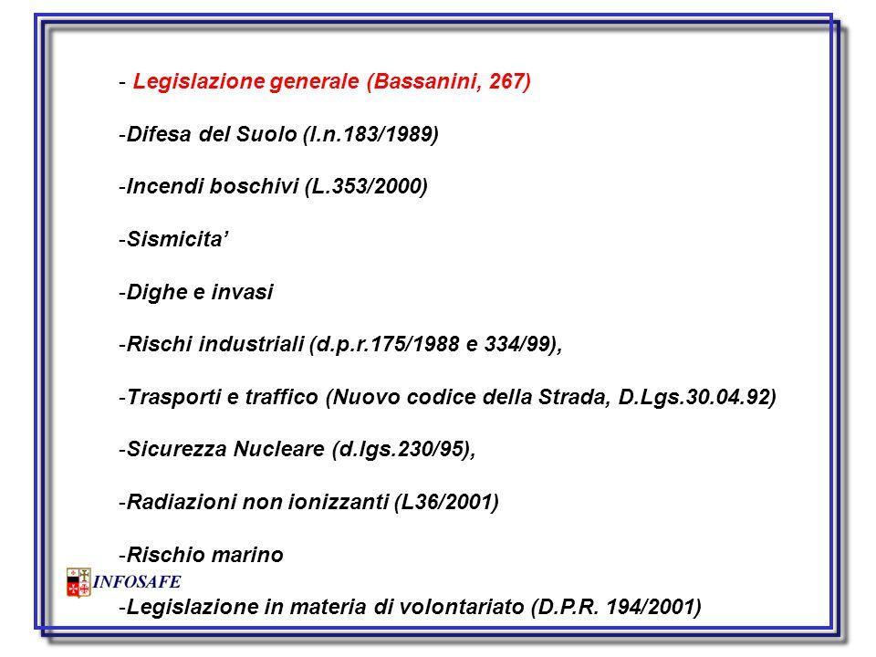  Legge nazionale n. 225 del 1992 sul Servizio Nazionale di Protezione Civile;  Legge nazionale n.