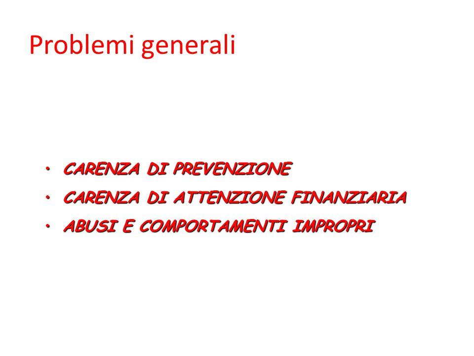 Problemi generali CARENZA DI PREVENZIONECARENZA DI PREVENZIONE CARENZA DI ATTENZIONE FINANZIARIACARENZA DI ATTENZIONE FINANZIARIA ABUSI E COMPORTAMENTI IMPROPRIABUSI E COMPORTAMENTI IMPROPRI