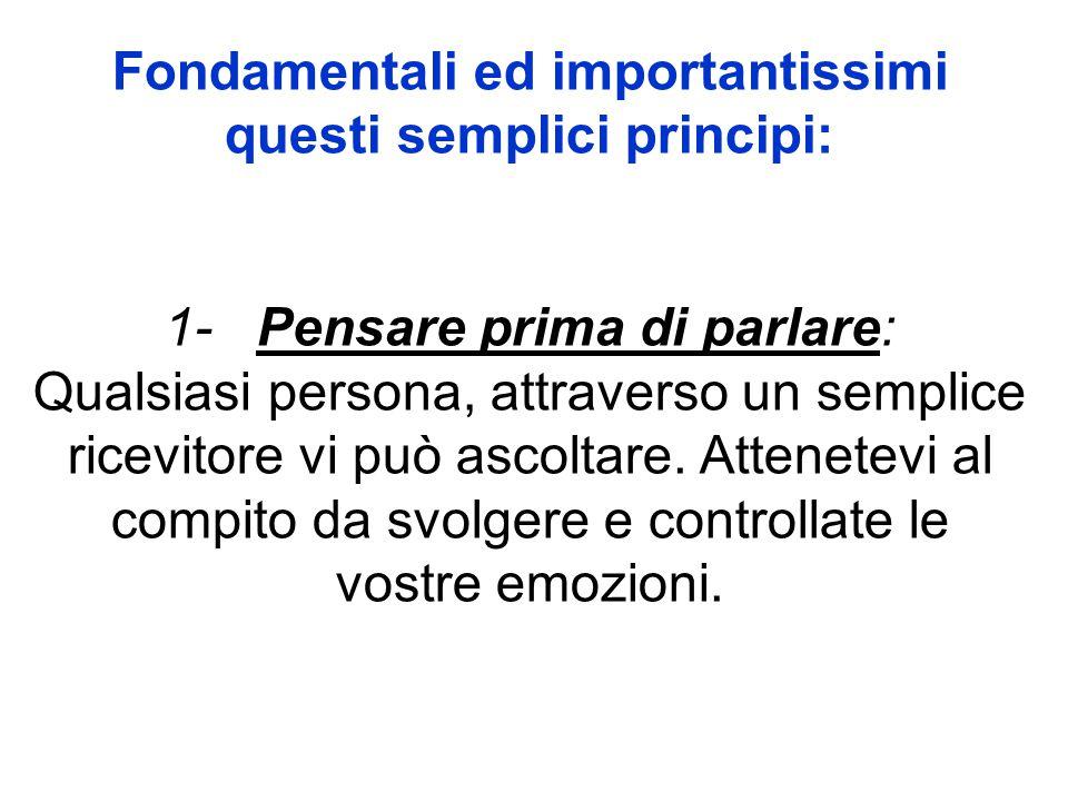 Fondamentali ed importantissimi questi semplici principi: 1- Pensare prima di parlare: Qualsiasi persona, attraverso un semplice ricevitore vi può asc