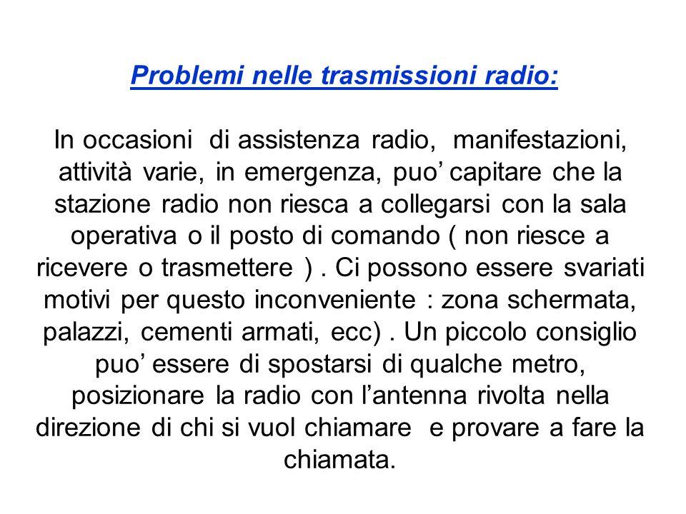 Problemi nelle trasmissioni radio: In occasioni di assistenza radio, manifestazioni, attività varie, in emergenza, puo' capitare che la stazione radio