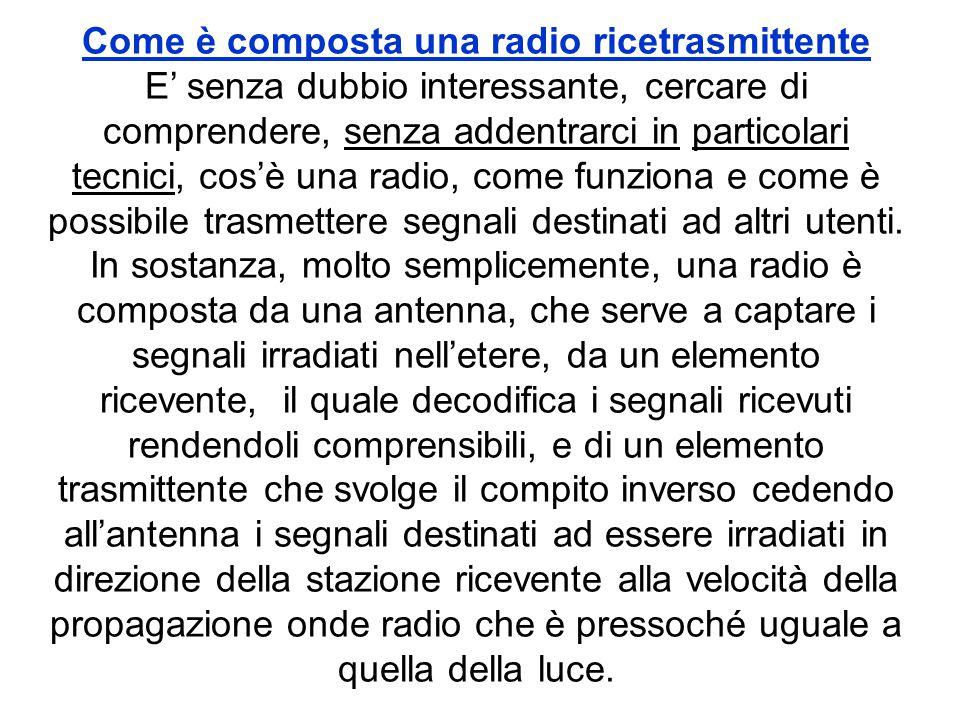 Come è composta una radio ricetrasmittente E' senza dubbio interessante, cercare di comprendere, senza addentrarci in particolari tecnici, cos'è una r
