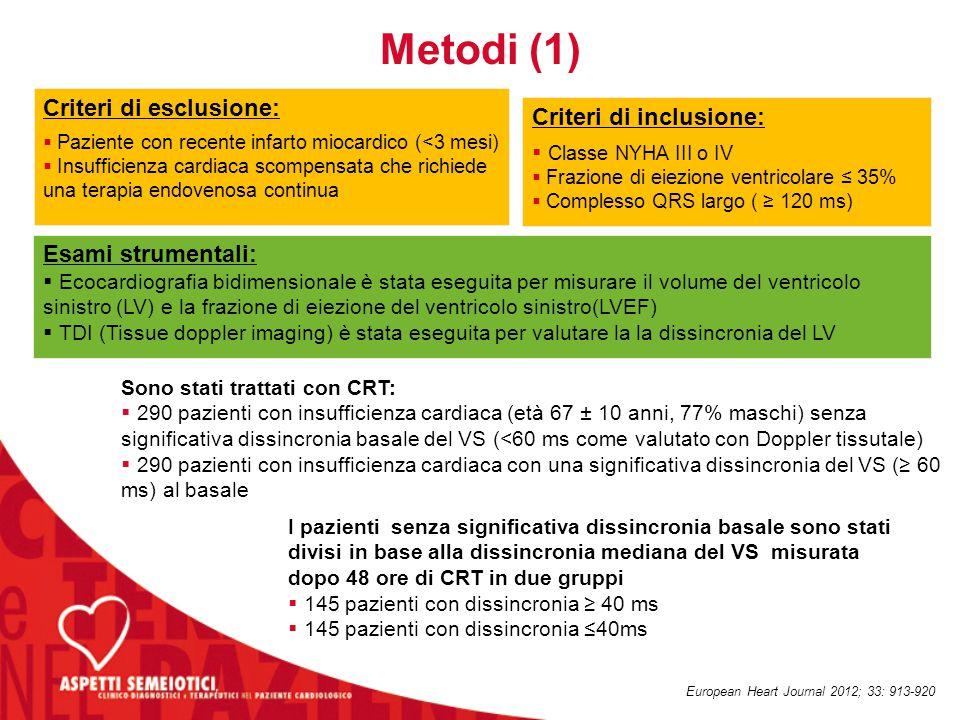 Metodi (1) Criteri di esclusione:  Paziente con recente infarto miocardico (<3 mesi)  Insufficienza cardiaca scompensata che richiede una terapia en
