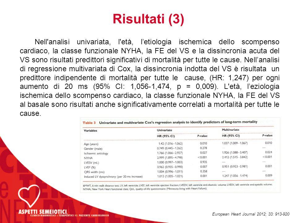 Risultati (3) Nell'analisi univariata, l'età, l'etiologia ischemica dello scompenso cardiaco, la classe funzionale NYHA, la FE del VS e la dissincroni