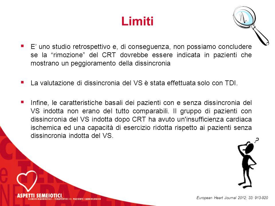 """Limiti  E' uno studio retrospettivo e, di conseguenza, non possiamo concludere se la """"rimozione"""" del CRT dovrebbe essere indicata in pazienti che mos"""