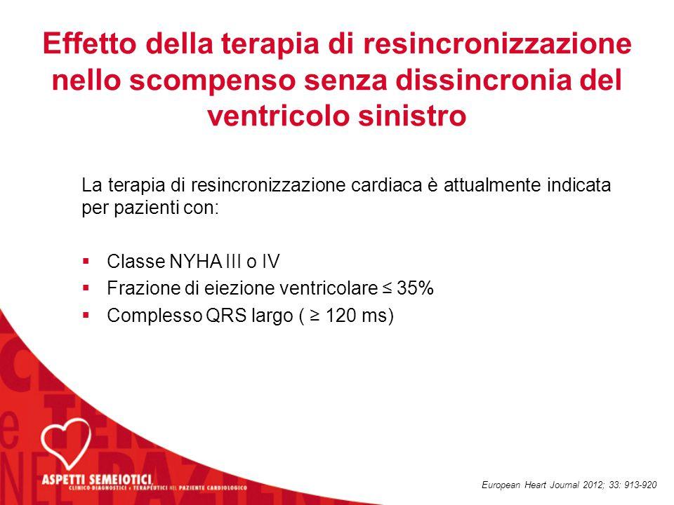 Conseguenze della CRT Il restauro della sincronicità del ventricolo sinistro con la stimolazione biventricolare è stata correlata a:  miglioramento della performance cardiaca  riduzione del rigurgito mitralico  riduzione delle pressioni di riempimento ventricolare  rimodellamento inverso del ventricolo sinistro European Heart Journal 2012; 33: 913-920