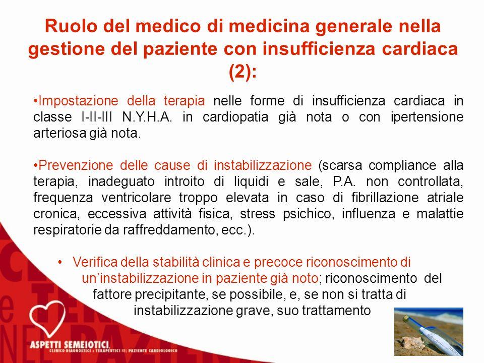 Impostazione della terapia nelle forme di insufficienza cardiaca in classe I-II-III N.Y.H.A.