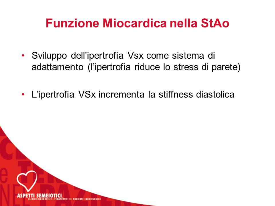 Funzione Miocardica nella StAo Sviluppo dell'ipertrofia Vsx come sistema di adattamento (l'ipertrofia riduce lo stress di parete) L'ipertrofia VSx incrementa la stiffness diastolica