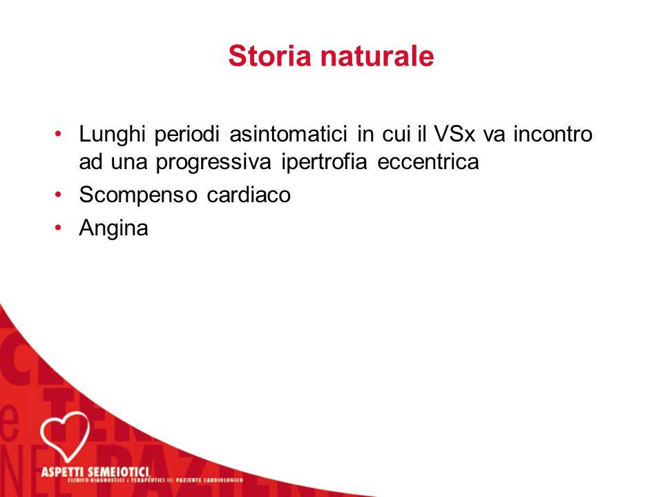 Storia naturale Lunghi periodi asintomatici in cui il VSx va incontro ad una progressiva ipertrofia eccentrica Scompenso cardiaco Angina