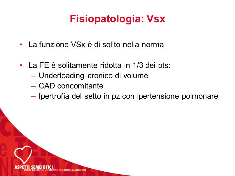 Fisiopatologia: Vsx La funzione VSx è di solito nella norma La FE è solitamente ridotta in 1/3 dei pts: –Underloading cronico di volume –CAD concomitante –Ipertrofia del setto in pz con ipertensione polmonare
