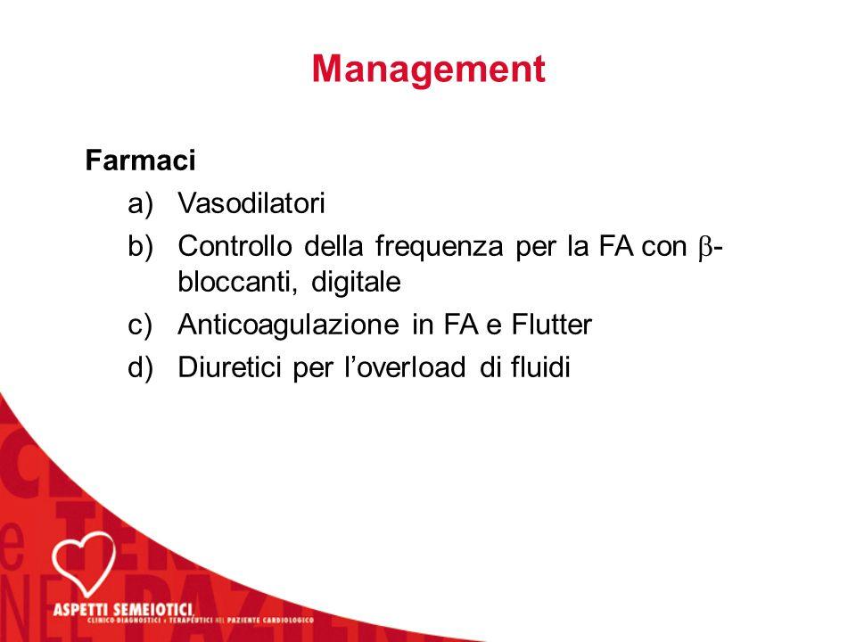 Management Farmaci a)Vasodilatori b)Controllo della frequenza per la FA con  - bloccanti, digitale c)Anticoagulazione in FA e Flutter d)Diuretici per l'overload di fluidi
