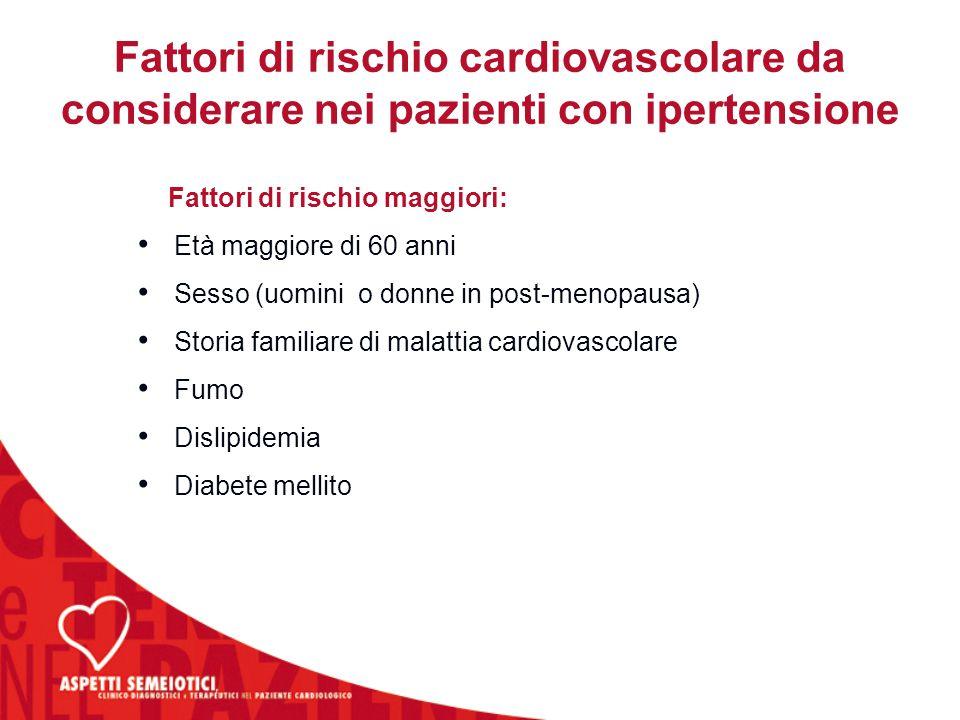 Fattori di rischio cardiovascolare da considerare nei pazienti con ipertensione Fattori di rischio maggiori: Età maggiore di 60 anni Sesso (uomini o d
