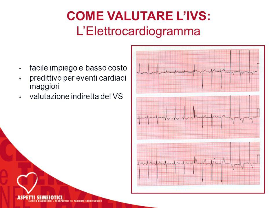 facile impiego e basso costo predittivo per eventi cardiaci maggiori valutazione indiretta del VS facile impiego e basso costo predittivo per eventi c