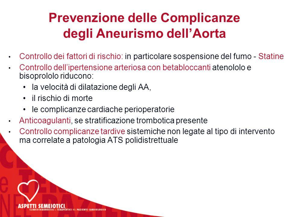 Controllo dei fattori di rischio: in particolare sospensione del fumo - Statine Controllo dell'ipertensione arteriosa con betabloccanti atenololo e bi