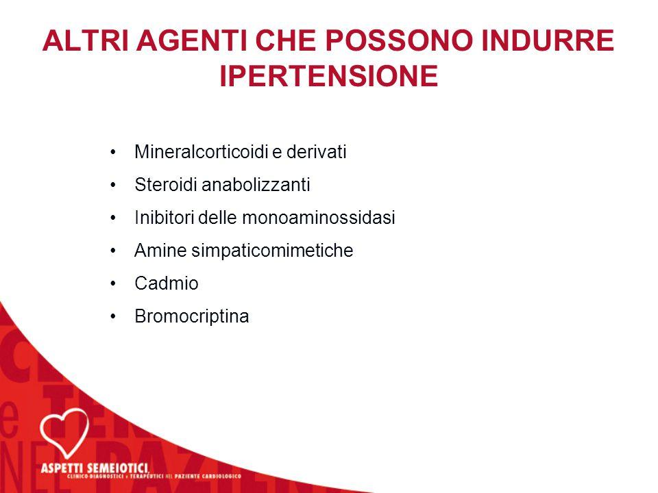 ALTRI AGENTI CHE POSSONO INDURRE IPERTENSIONE Mineralcorticoidi e derivati Steroidi anabolizzanti Inibitori delle monoaminossidasi Amine simpaticomime
