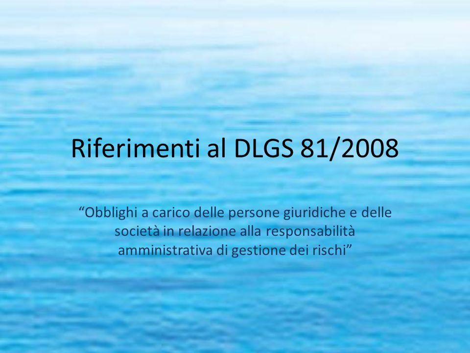 Riferimenti al DLGS 81/2008 Obblighi a carico delle persone giuridiche e delle società in relazione alla responsabilità amministrativa di gestione dei rischi