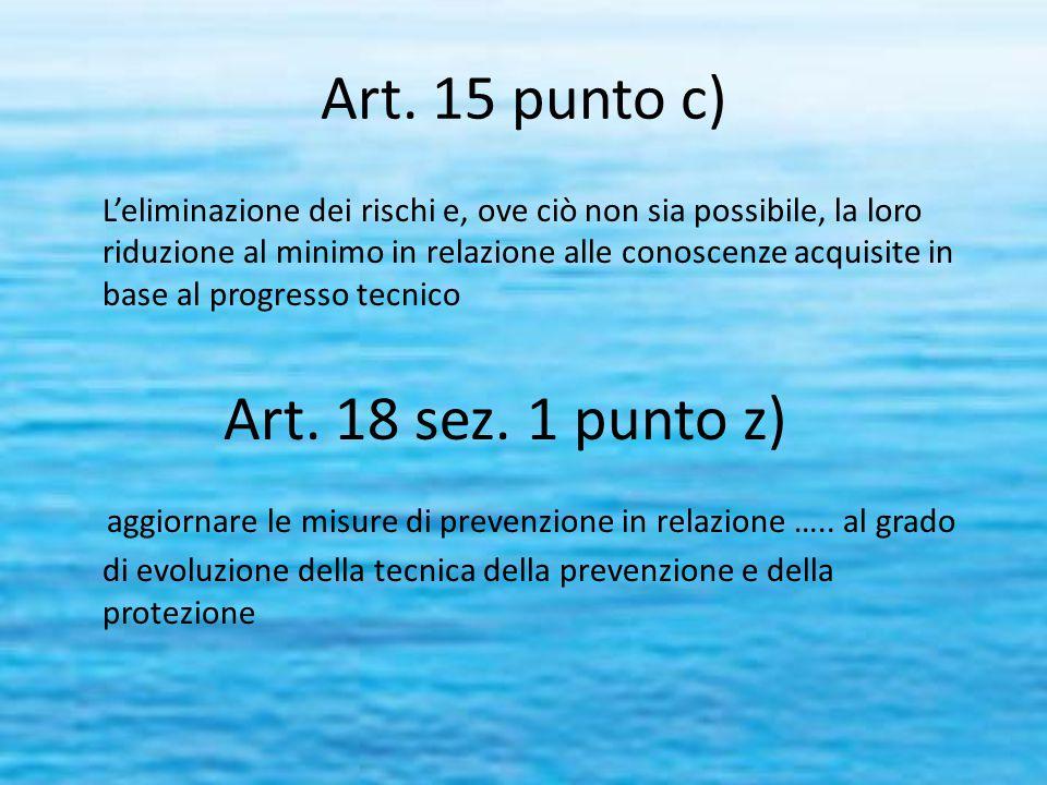 Art. 15 punto c) L'eliminazione dei rischi e, ove ciò non sia possibile, la loro riduzione al minimo in relazione alle conoscenze acquisite in base al