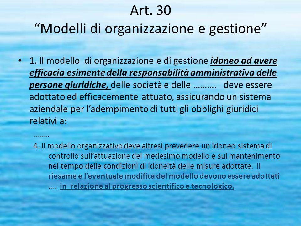 """Art. 30 """"Modelli di organizzazione e gestione"""" 1. Il modello di organizzazione e di gestione idoneo ad avere efficacia esimente della responsabilità a"""