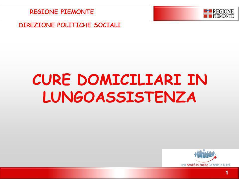 1 CURE DOMICILIARI IN LUNGOASSISTENZA REGIONE PIEMONTE DIREZIONE POLITICHE SOCIALI 1