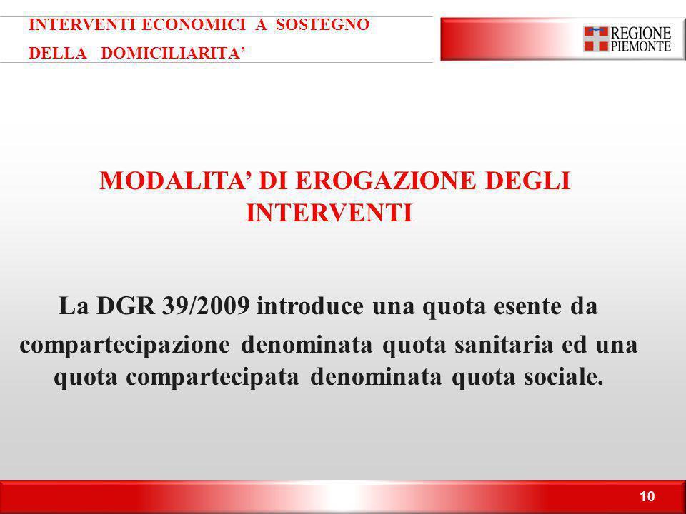 10 INTERVENTI ECONOMICI A SOSTEGNO DELLA DOMICILIARITA' MODALITA' DI EROGAZIONE DEGLI INTERVENTI La DGR 39/2009 introduce una quota esente da comparte