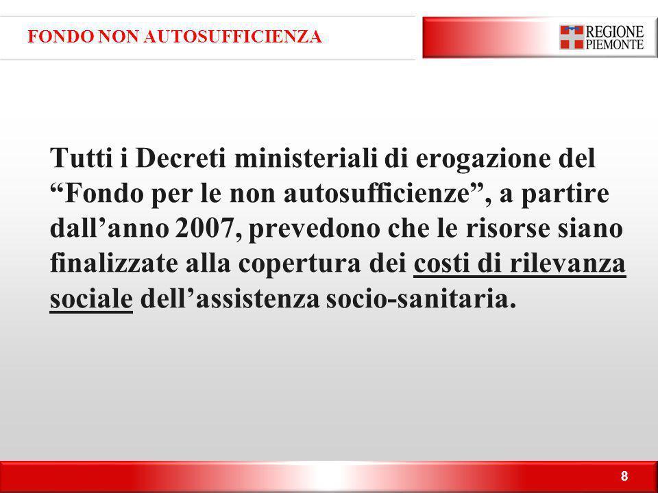"""8 FONDO NON AUTOSUFFICIENZA Tutti i Decreti ministeriali di erogazione del """"Fondo per le non autosufficienze"""", a partire dall'anno 2007, prevedono che"""