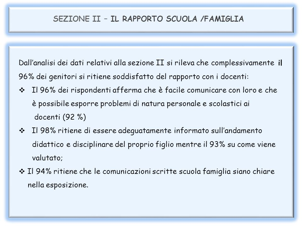 SEZIONE II - RAPPORTO CON I DOCENTI 33% 63% 96%
