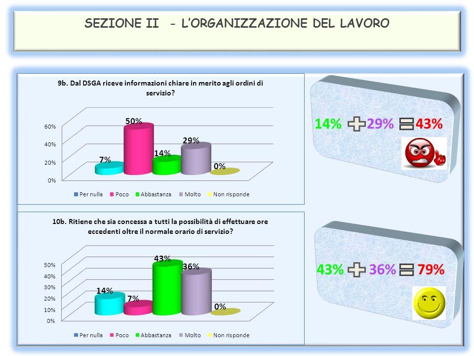 SEZIONE II - L'ORGANIZZAZIONE DEL LAVORO 29% 21% 50% 36% 29% 65%