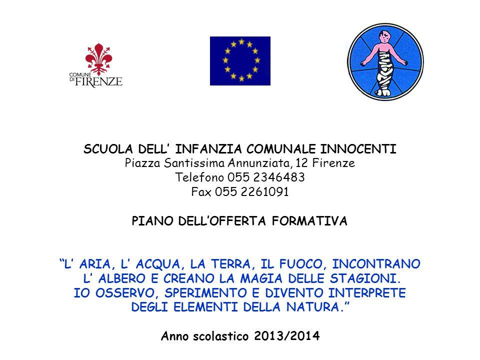 """SCUOLA DELL' INFANZIA COMUNALE INNOCENTI Piazza Santissima Annunziata, 12 Firenze Telefono 055 2346483 Fax 055 2261091 PIANO DELL'OFFERTA FORMATIVA """"L"""