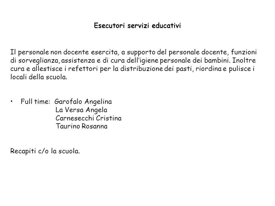 Esecutori servizi educativi Il personale non docente esercita, a supporto del personale docente, funzioni di sorveglianza, assistenza e di cura dell'i