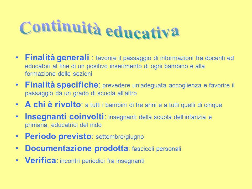 Finalità generali : favorire il passaggio di informazioni fra docenti ed educatori al fine di un positivo inserimento di ogni bambino e alla formazion