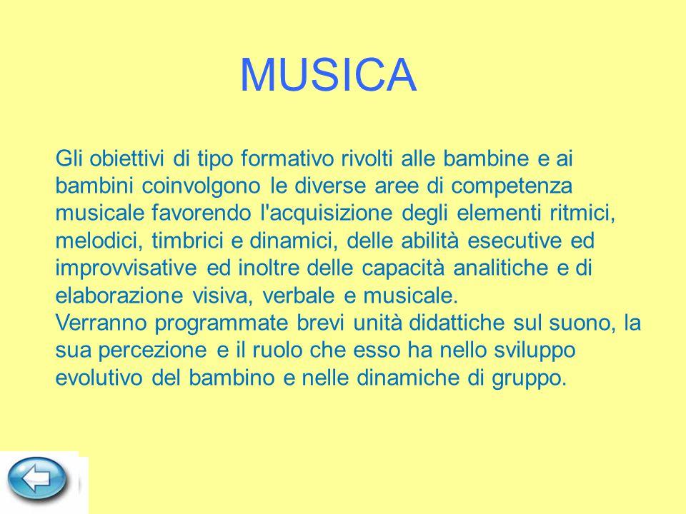Gli obiettivi di tipo formativo rivolti alle bambine e ai bambini coinvolgono le diverse aree di competenza musicale favorendo l'acquisizione degli el