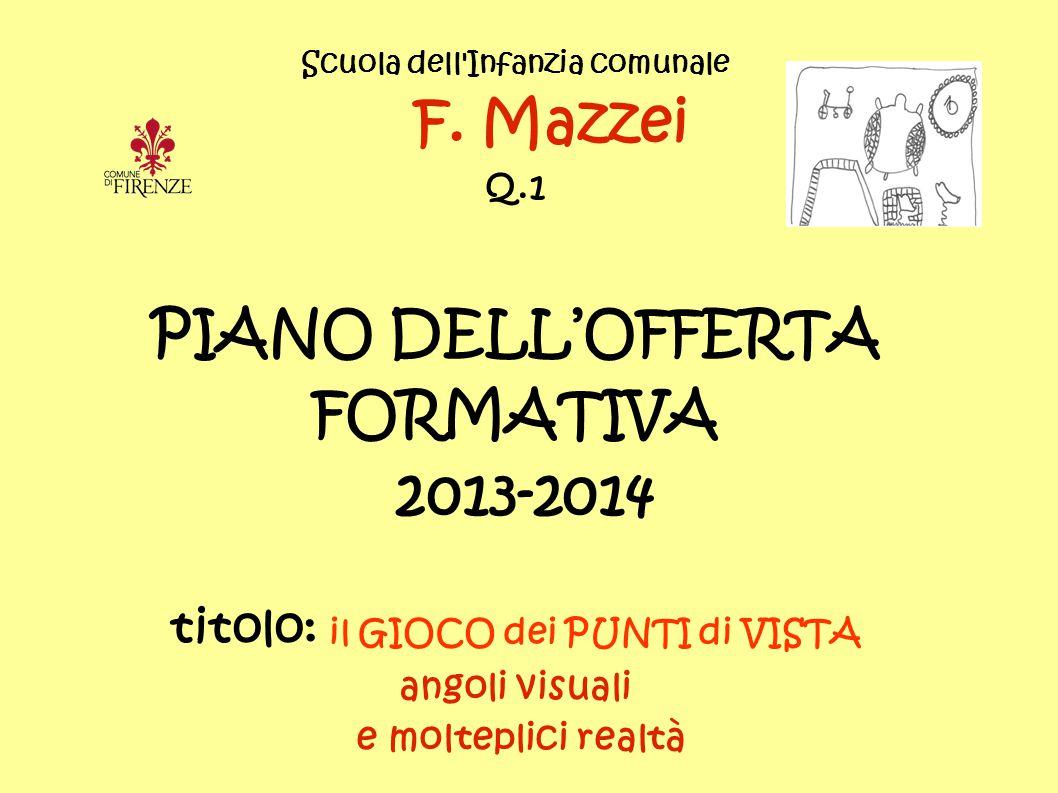 Scuola dell'Infanzia comunale F. Mazzei Q.1 PIANO DELL'OFFERTA FORMATIVA 2013-2014 titolo: il GIOCO dei PUNTI di VISTA angoli visuali e molteplici rea