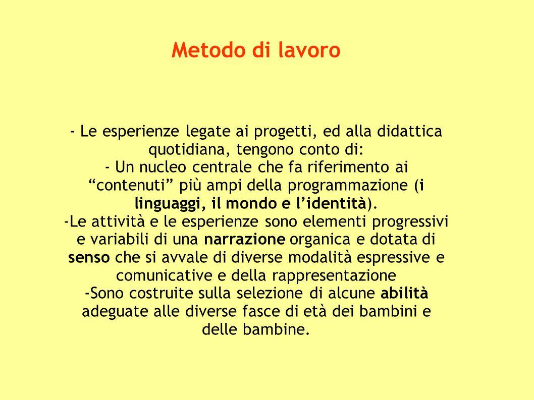 """Metodo di lavoro - Le esperienze legate ai progetti, ed alla didattica quotidiana, tengono conto di: - Un nucleo centrale che fa riferimento ai """"conte"""