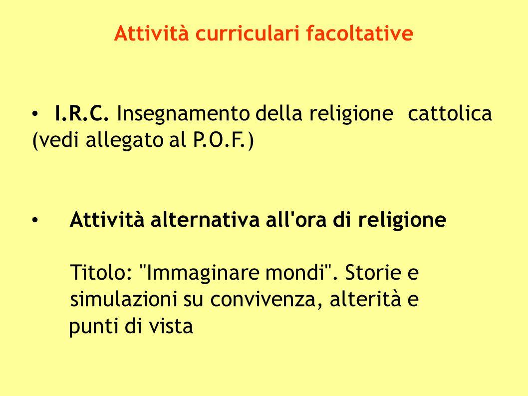 Attività curriculari facoltative I.R.C. Insegnamento della religione cattolica (vedi allegato al P.O.F.) Attività alternativa all'ora di religione Tit