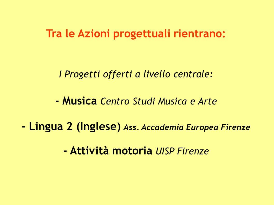 Tra le Azioni progettuali rientrano: I Progetti offerti a livello centrale: - Musica Centro Studi Musica e Arte - Lingua 2 (Inglese) Ass. Accademia Eu