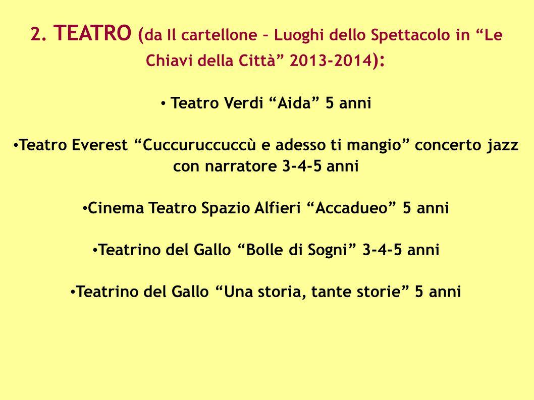 """2. TEATRO ( da Il cartellone – Luoghi dello Spettacolo in """"Le Chiavi della Città"""" 2013-2014 ): Teatro Verdi """"Aida"""" 5 anni Teatro Everest """"Cuccuruccucc"""
