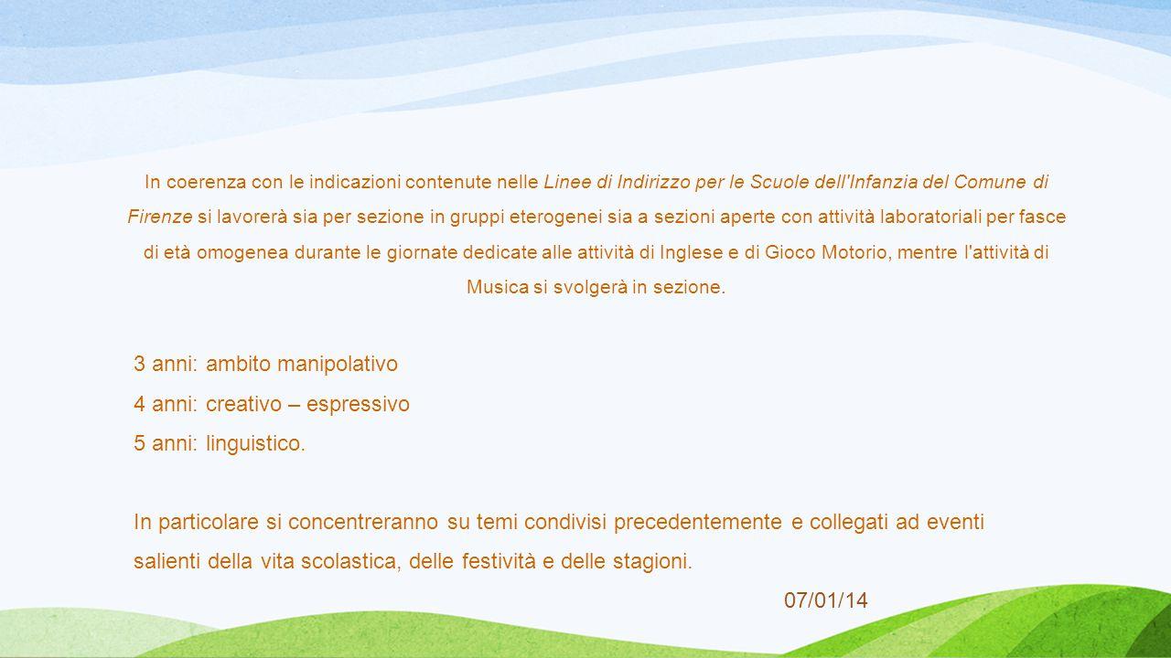 07/01/14 In coerenza con le indicazioni contenute nelle Linee di Indirizzo per le Scuole dell'Infanzia del Comune di Firenze si lavorerà sia per sezio