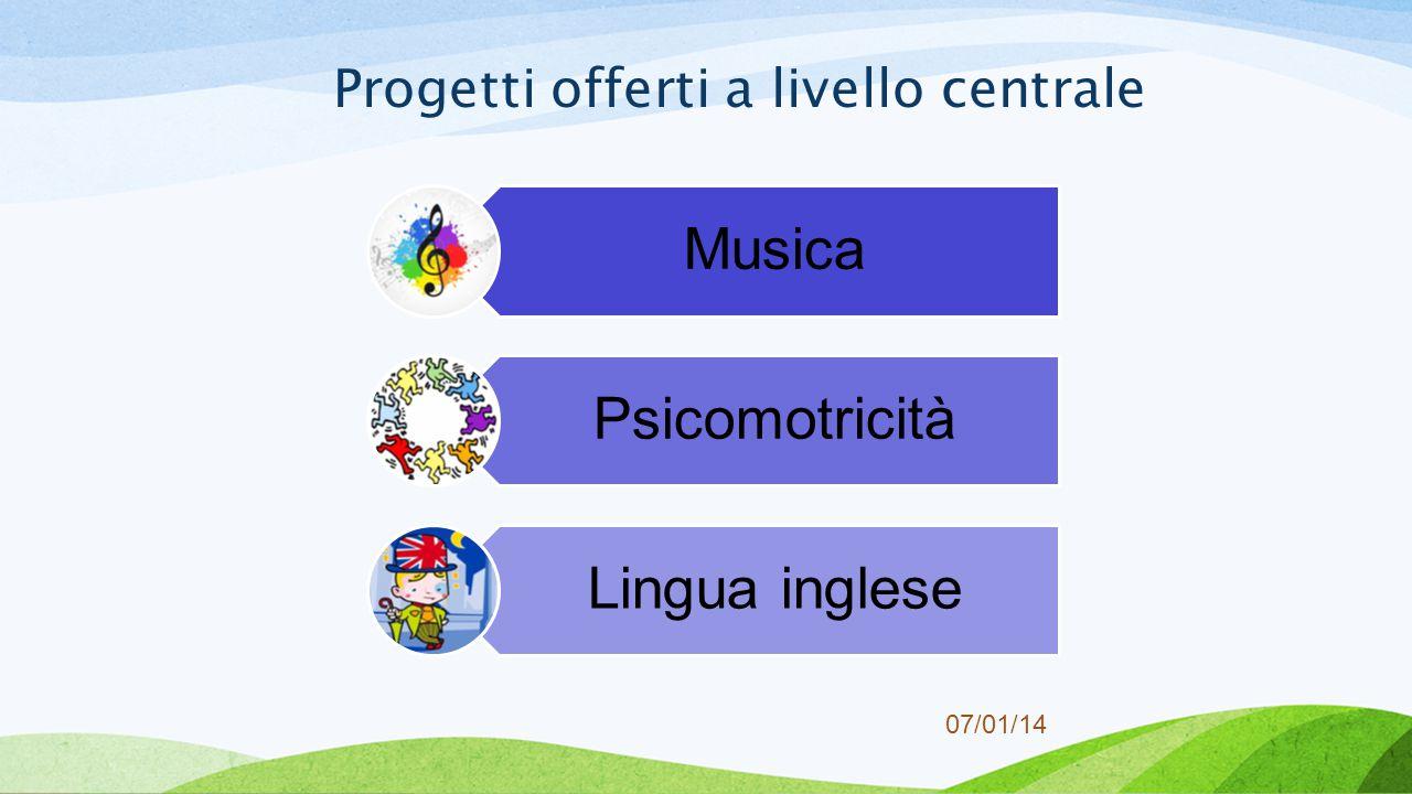 07/01/14 Progetti offerti a livello centrale Musica Psicomotricità Lingua inglese