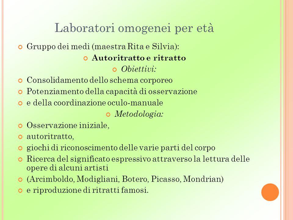 Laboratori omogenei per età Gruppo dei medi (maestra Rita e Silvia): Autoritratto e ritratto Obiettivi: Consolidamento dello schema corporeo Potenziam