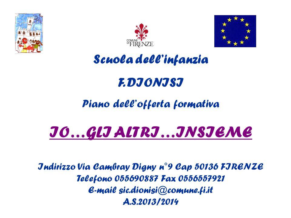 Scuola dell'infanzia F. DIONISI Piano dell'offerta formativa IO…GLI ALTRI…INSIEME Indirizzo Via Cambray Digny n°9 Cap 50136 FIRENZE Telefono 055690887