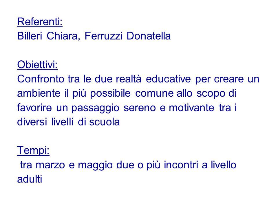 Referenti: Billeri Chiara, Ferruzzi Donatella Obiettivi: Confronto tra le due realtà educative per creare un ambiente il più possibile comune allo sco