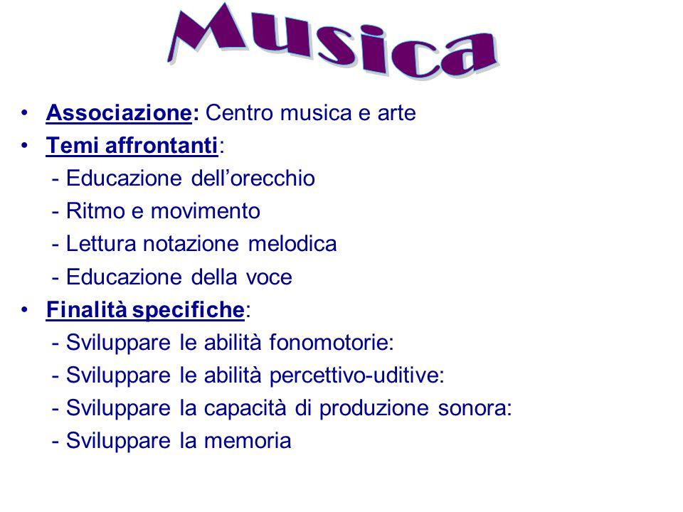 Associazione: Centro musica e arte Temi affrontanti: - Educazione dell'orecchio - Ritmo e movimento - Lettura notazione melodica - Educazione della vo