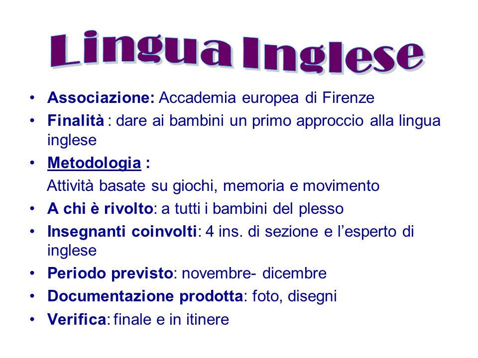 Associazione: Accademia europea di Firenze Finalità : dare ai bambini un primo approccio alla lingua inglese Metodologia : Attività basate su giochi,