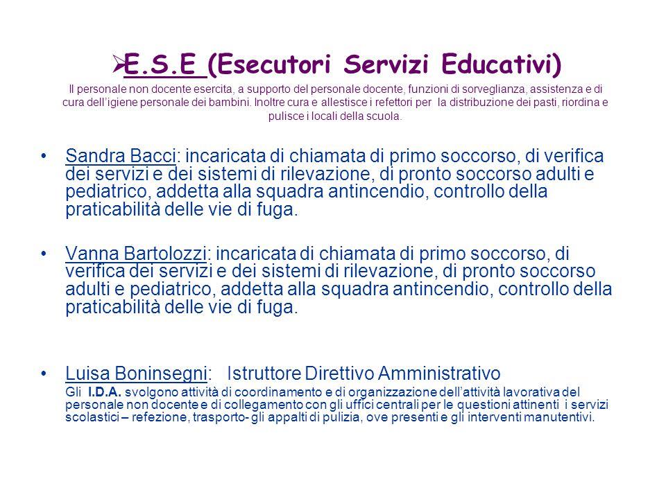 Sandra Bacci: incaricata di chiamata di primo soccorso, di verifica dei servizi e dei sistemi di rilevazione, di pronto soccorso adulti e pediatrico,