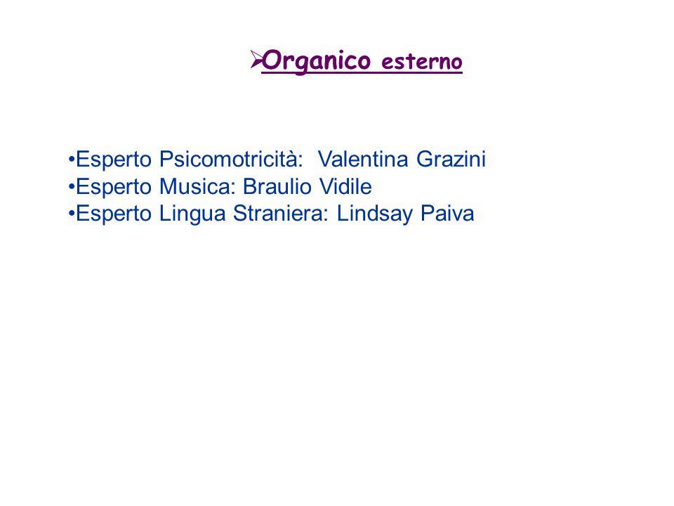  Organico esterno Esperto Psicomotricità: Valentina Grazini Esperto Musica: Braulio Vidile Esperto Lingua Straniera: Lindsay Paiva