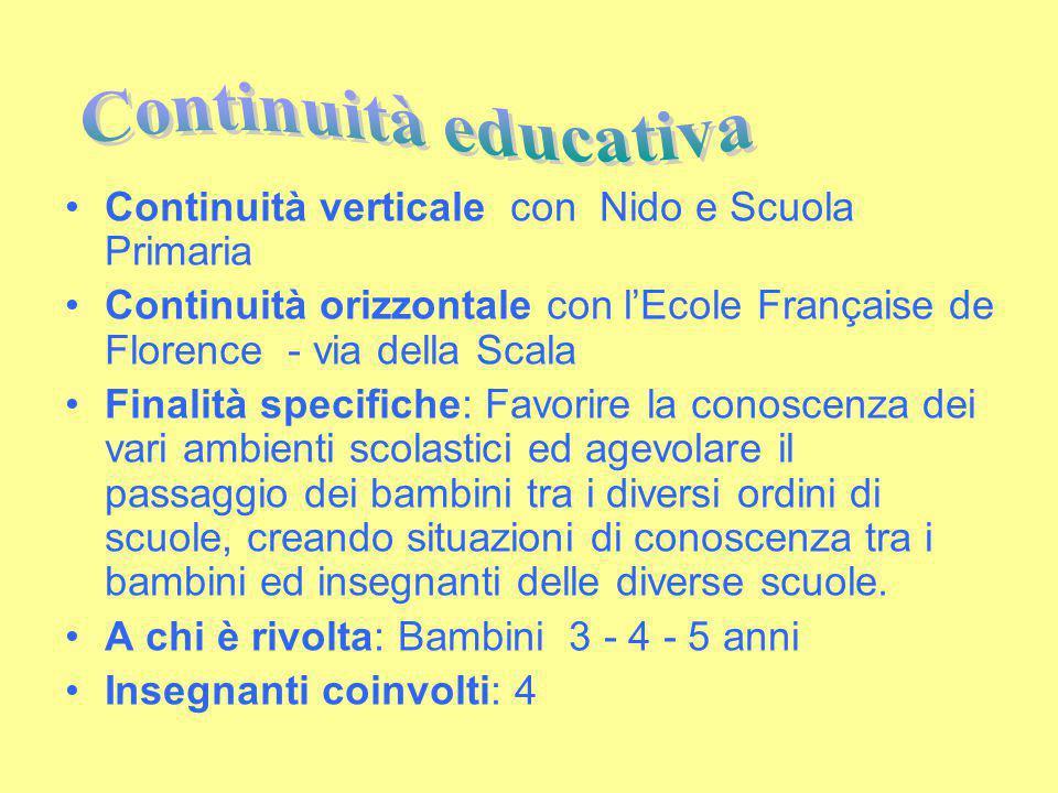 Continuità verticale con Nido e Scuola Primaria Continuità orizzontale con l'Ecole Française de Florence - via della Scala Finalità specifiche: Favori
