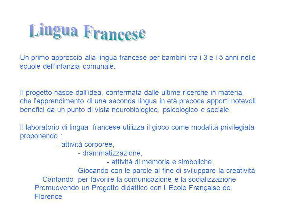Un primo approccio alla lingua francese per bambini tra i 3 e i 5 anni nelle scuole dell'infanzia comunale. Il progetto nasce dall'idea, confermata da