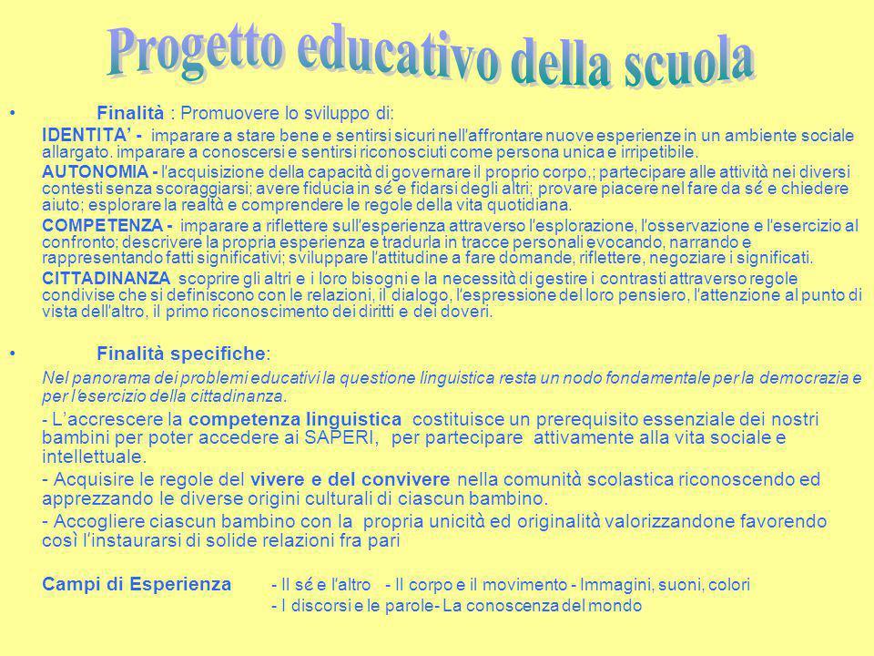 Finalità : Promuovere lo sviluppo di: IDENTITA' - imparare a stare bene e sentirsi sicuri nell ' affrontare nuove esperienze in un ambiente sociale al