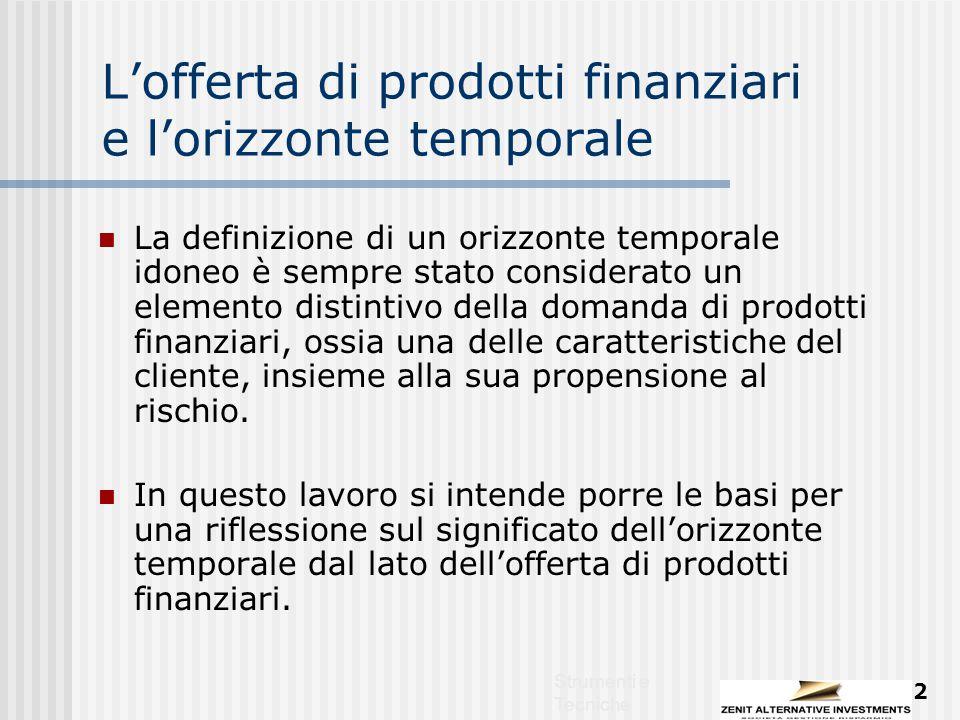 Strumenti e Tecniche 2 L'offerta di prodotti finanziari e l'orizzonte temporale La definizione di un orizzonte temporale idoneo è sempre stato considerato un elemento distintivo della domanda di prodotti finanziari, ossia una delle caratteristiche del cliente, insieme alla sua propensione al rischio.