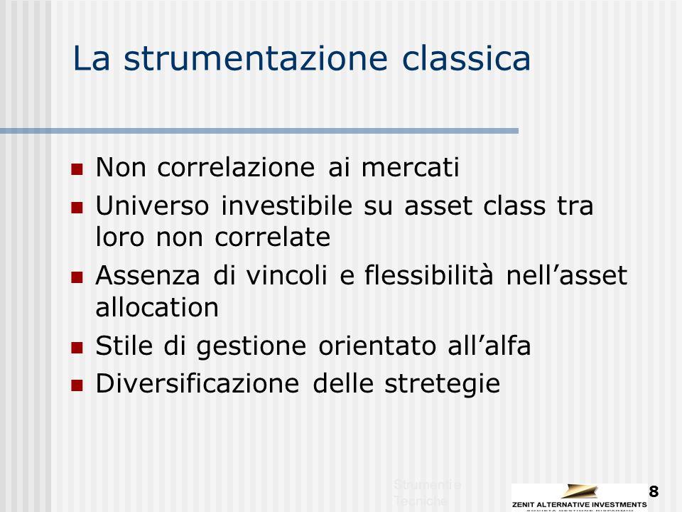 Strumenti e Tecniche 8 La strumentazione classica Non correlazione ai mercati Universo investibile su asset class tra loro non correlate Assenza di vincoli e flessibilità nell'asset allocation Stile di gestione orientato all'alfa Diversificazione delle stretegie